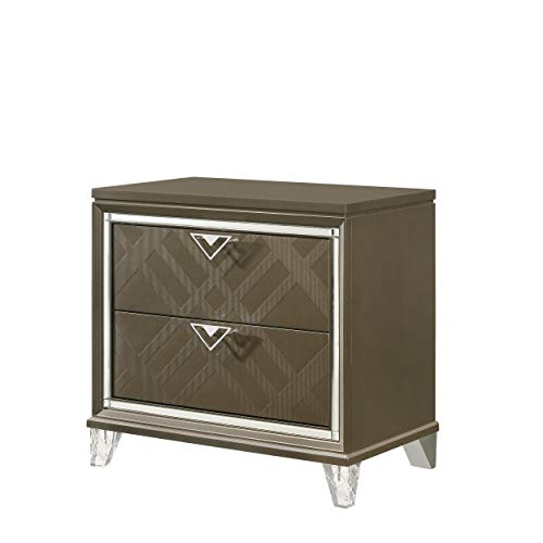 Benjara 2 Drawer Wooden Nightstand with Mirror Accent and Acrylic Legs, Brown