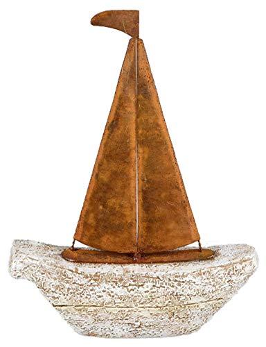 dekojohnson Statuette décorative en forme de bateau en pierre artificielle Gris rouille 18 x 23 cm Avec carte cadeau