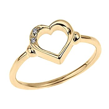 Modern Contemporary Rings Fine 10k Yellow Gold Dainty Band 2-Stone Diamond Open Heart Ring  Size 6.5