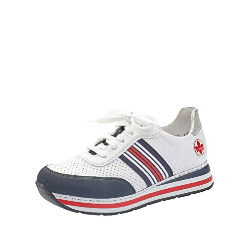 Rieker Damen Low-Top Sneaker L2327, Frauen Halbschuhe,lose Einlage,Woman,schnürschuhe,schnürer,Halbschuhe,straßenschuhe,Weiss Kombi (15),38 EU / 5 EU
