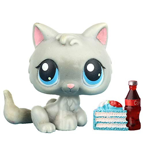 LovePets lps Mini Kitty 66, lps Cat Gray with Blue Eyes with lps Accessories Collectable Kids Gift