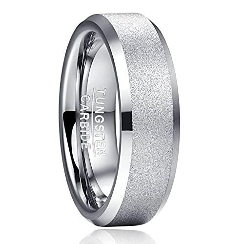 anello donna tungsteno TUNGSTORY 6mm Anello in Carburo di Tungsteno per Donna Fede Nuziale con Bordo Smussato Lucido Finitura Sabbiata Comfort Fit Taglia 27.5