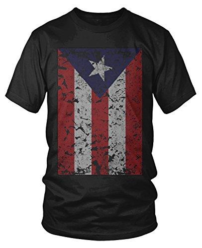 Amdesco Men's Faded Puerto Rico Flag, Puerto Rican Flag T-Shirt, Black Small