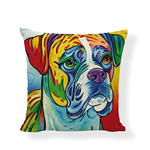 HUAYING Funda de cojín colorido lindo perro lino algodón pintura al óleo cuadrado hogar sofá al aire libre silla de roca decoración fundas de almohada
