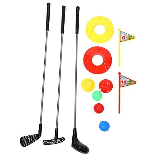 KAKAKE Juego de Juguetes de Golf, Juego de Palos de Golf para niños ABS sin Pelo + Caja Fuerte de Metal para Exteriores