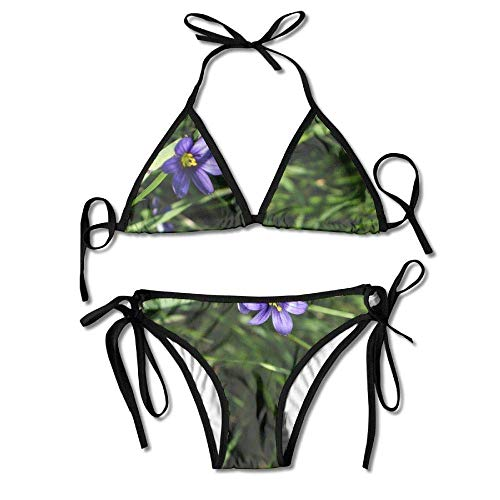 Hoklcvd Women's Blue Eyed Grass Flower Sexy Bikini Swimsuit Suit Set Triangle Swimwear