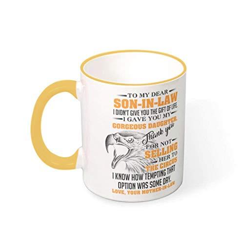 IOVEQG To My Son-in-law Eagle Taza única tazas de café con mango Idea de regalo para niñas y mujeres, barra de oro de 330 ml