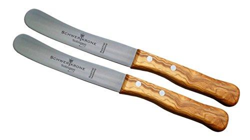 Schwertkrone Solingen 2 Buckelsmesser Buttermesser aus Olivenholz/Premiumqualität aus Solinger Messermanufaktur/Frühstücksmesser Klingenlänge 11 cm rostfrei/Brötchenmesser