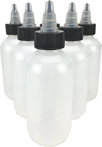 Hobbyland Quetschflaschen, LDPE-Kunststoffflaschen, natürliche Boston-runde Flaschen, schwarze und natürliche Drehverschlüsse (118 ml, 6 Flaschen)