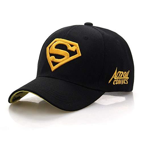 Xingya Nouvelle Lettre Superman Cap Casual Casquettes de Baseball en Plein Air for Hommes Chapeaux Femmes Snapback Caps for Adult Chapeau De Soleil (Color : Black Yellow)