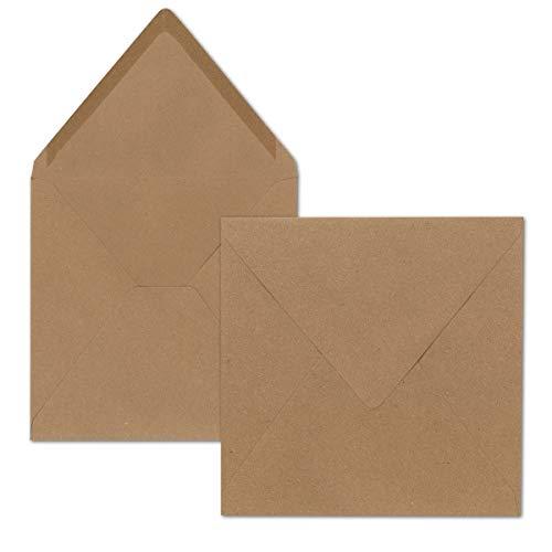 Quadratische Brief-Umschläge ohne Fenster in Sandbraun - 50 Stück - 15,5 x 15,5 cm - Nassklebung - Für Hochzeits-Karten, Einladungskarten und mehr - Serie FarbenFroh®