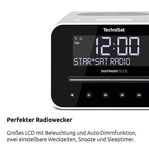 TechniSat Digitradio 52 CD Stereo DAB Radiowecker mit zwei einstellbaren Weckzeiten (DAB+, UKW, Snooze, Sleeptimer, dimmbares Display, Bluetooth, Wireless-Charging Funktion, CD-Player) weiß