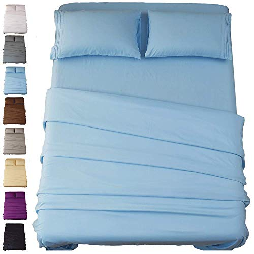 SONORO KATE Bed Sheet Set Super Soft Microfiber 1800 Thread Count Luxury Egyptian Sheets 18-Inch Deep Pocket Wrinkle and Hypoallergenic-4 Piece(King Lake Blue)