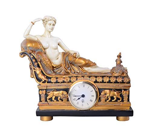 Figürliche Kaminuhr Aphrodite auf Recamiere Empire Stil IS024 Palazzo Exklusiv