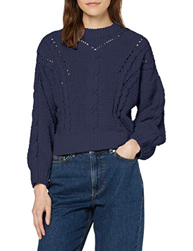 Amazon-Marke: find. Damen Strickpullover mit Loch- und Zopfmuster, Blau (Navy), 40, Label: L