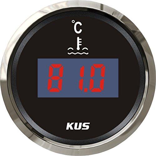 KUS Jauge de température de l'eau numérique 25–120 °C avec rétroéclairage 52 mm 12 V 24 V