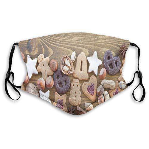 CSXKUL, confortevole copertura antivento per il viso, torte assortite e dolci in glassa di noci e pan di zenzero con stelle, decorazioni per il viso per adulti