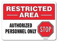 eSplanade 制限エリアサイン 公認 人のみ サイン ステッカー デカール - 取り付け簡単 耐候性 長持ちインク (サイズ -10インチ x 7インチ)