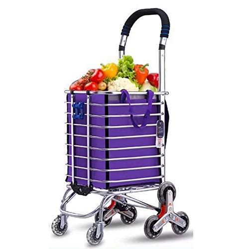 Z-SEAT Carro de la Compra Plegable de Utilidad de lavandería de comestibles, aleación de Aluminio para Subir escaleras de 8 Ruedas, Capacidad de Carga 50 kg
