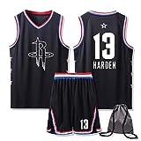 Juego de baloncesto de Houston Rockets, James Harden #13 para hombre, con bolsa de baloncesto, unisex, malla de baloncesto Swingman sin mangas