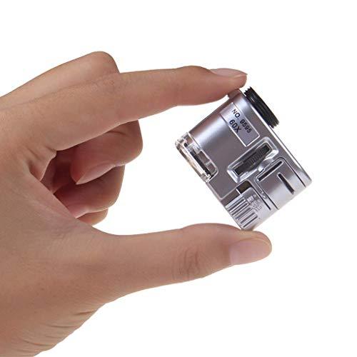 Mnjin Microscopio portátil de Vidrio para teléfono móvil de 60 Veces con identificación de luz Sello de joyería Impresión de Moneda Lupa portátil Antigua