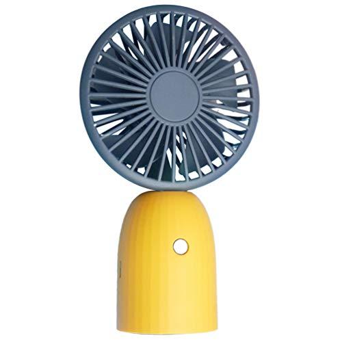 PRETYZOOM - Ventilador de mano portátil, pequeño, pequeño, USB, para mesa de verano, color gris y amarillo