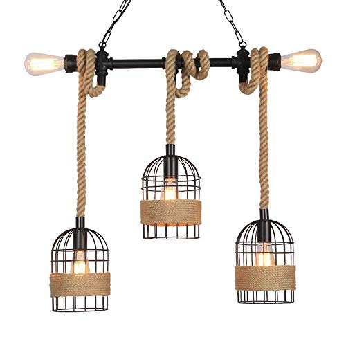 WEM Candelabro de cuerda de cáñamo vintage Iluminación colgante industrial Hierro forjado Arte creativo Ático Jaula de pájaros Lámpara colgante Cocina Iluminación para el hogar Decoración