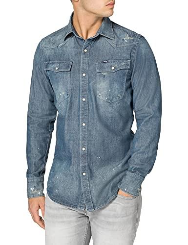G-STAR RAW 3301 Slim Camisa, Antic Faded Aegean C611-c244-Figura Decorativa (Pintada en...