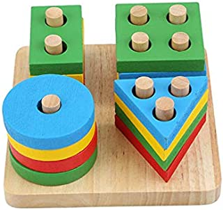 Wooden Puzzle toy Educational DIY Baby Toys Wooden Geometric Sorting Board Montessori Kids Educational Toys Building Puzzl...