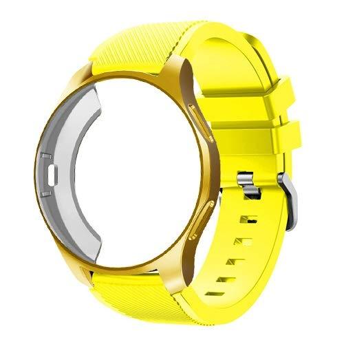 WSGGFA Funda de silicona+correa para Samsung Galaxy Watch de 46 mm/42 mm, correa Gear S3 Frontier+funda protectora (color de la correa: amarillo 2, ancho de la correa: Gear Sport S2)