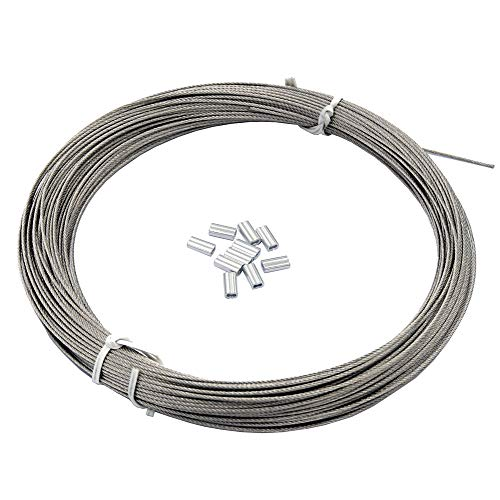 DGOL 100 ft 304 Stainless Steel Cable Wire Rope Diameter 5/128 inch (1 mm) with 10pcs Sleeves Stops