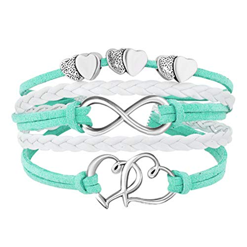 LovelyJewelry Leather Wrap Bracelets Girls Double Hearts Infinity Rope Wristband Bracelets Gifts (Green)