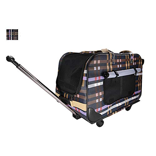 XDYFF Pet Travel Wheel Bag Cat Puppy Go out bag four-wheel folding lever box cat pet cart breathable cat and dog luggage,plaid