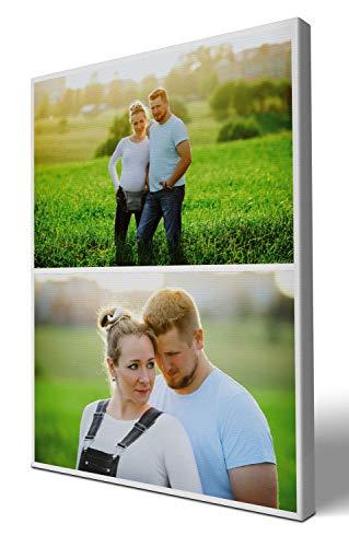 wandmotiv24 Fotocollage, 2 Fotos auf Leinwand, Hochformat 30x40cm (BxH), Leinwandbilder, Bilder Collagen, Fotowand Collage, personalisierte Fotogeschenke, Foto selbst gestalten M0001