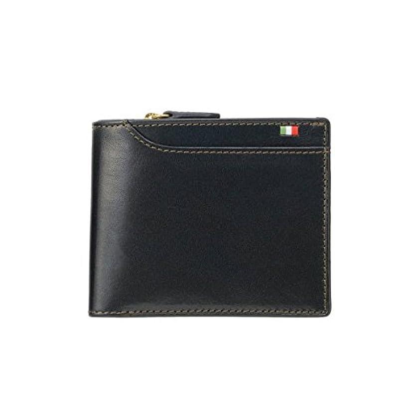 ひねりメンタル抜け目のないMilagro ミラグロ タンポナートレザー 二つ折り 短財布 ショートウォレット 23ポケット イタリア製ヌメ革 ネイビー CA-S-572-NV
