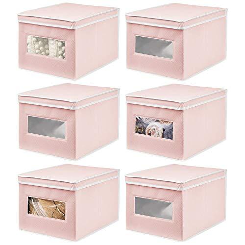 mDesign Set da 6 Organizer Armadio con Coperchio e Finestra – Capienti scatole per armadi perfette per la Camera dei Bambini – Contenitori portaoggetti – Rosa/Bianco