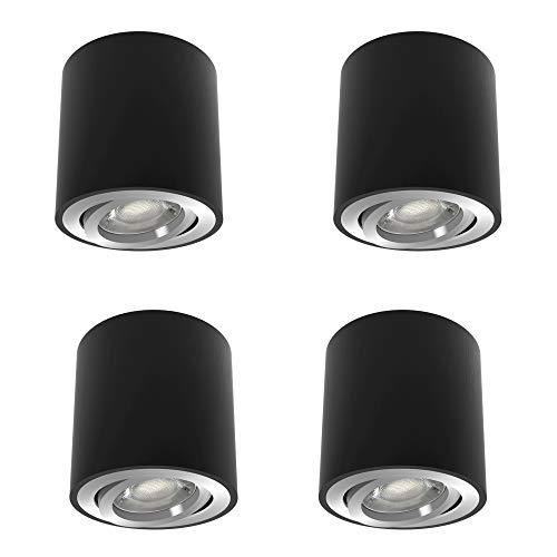 4 Stück linovum CORI Aufbaulampen rund in schwarz gebürstet im Set - schwenkbarer Aufputz Spot geeignet für GU10 & LED Module
