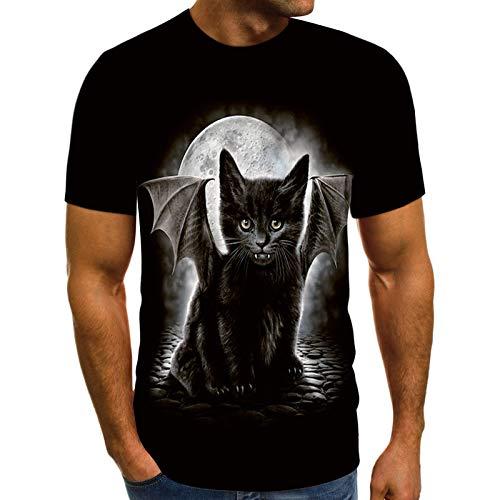 t Shirt Poloshirt sportshirts t Shirts T-Shirt Top Bluse Männer Frühling Sommer Casual Slim 3D gedruckt Kurzarm (L,3Schwarz)