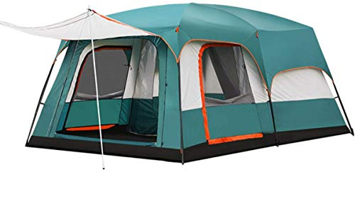 Freetrekker Großes Zelt Familienzelt 8-10 Personen Festivalzelt Luxus Zelt Steilwandzelt Hauszelt Kuppelzelt Campingzelt Gruppenzelt Wasserdicht WS 6.000 mm (dunkel grün)