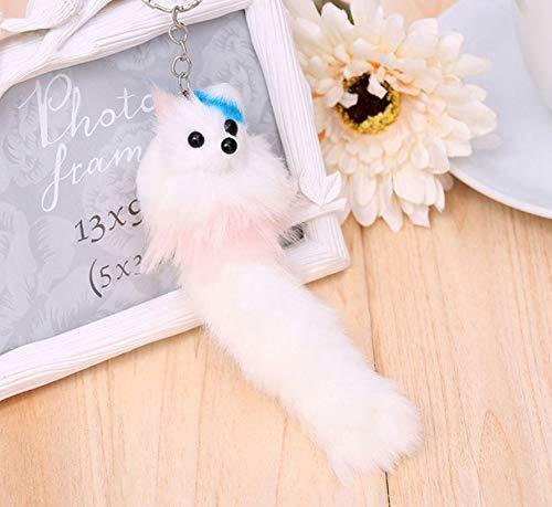 WYBL Kawaii Plüsch Fox hängen Demode Schlüsselanhänger Plüsch Tier Handtasche Silber Anhänger für Mädchen Kinder Geschenke 14cm weiß