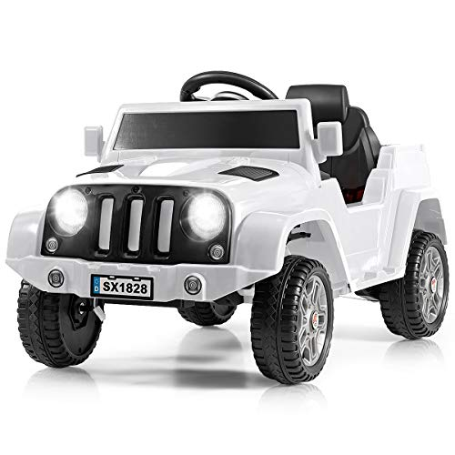 Costzon Kids Ride On Car, Battery Powered Electric Vehicle w/ 2.4G Parental Remote Control, LED Headlights, Music and MP3, High/Low Speed, Ride on Toy for Boys & Girls Age 3 to 6 (White)