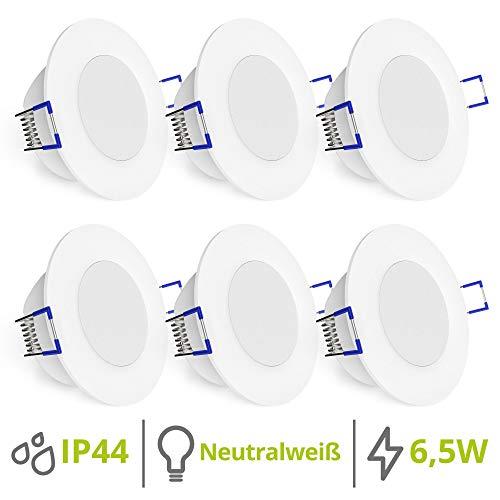 linovum WEEVO 6er Set runde LED Einbaustrahler für Bad & Außen IP44 mit 4000K neutralweiß 6,5W - Spot extra flacher Einbau 29mm