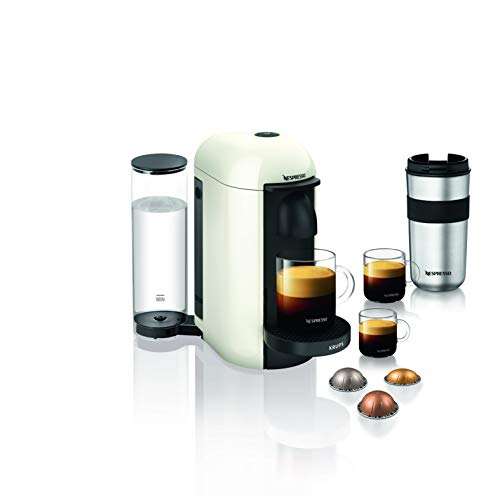 Krups Nespresso Vertuo Plus - Cafetera de cápsulas Depósito de agua de 1,1 l. Blanco
