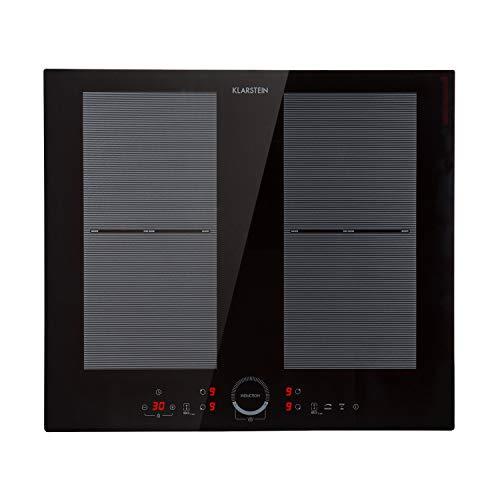 KLARSTEIN Delicatessa 60 - Table de cuisson à induction, 7000 W (2 x 2000 W & 2 x 1500 W), 4 foyers : chacun 19,5 x 19 cm, Puissance réglable en 9 positions, Minuterie, Encastrable, noir