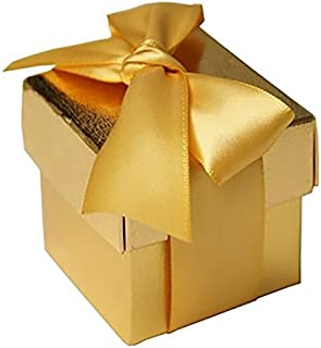 BalsaCircle 100 Gold Cute Wedding Favors Boxes with Lids for Wedding Party Birthday Candy Gifts Decorations Supplies Wholesale