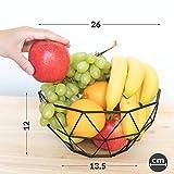 Chefarone Obstschale Metall – dekorativer Obstkorb Vintage Schwarz – Obst Aufbewahrung für mehr Vitamine in Ihrem Alltag (26x26x12cm) - 5