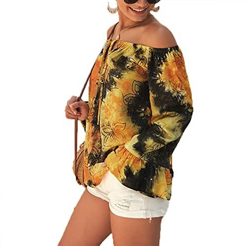 Primavera Y Verano, Camiseta Holgada Informal De Manga Larga con Un Solo Hombro Y TeñIdo Anudado para Mujer