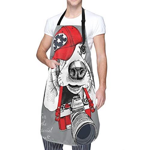 Ajustable Colgante de Cuello Personalizado Delantal Impermeable,Retrato de un perro Basset Hound en gorra roja con cámara en gris,Babero de Cocina Vestido para Hombres Mujeres con 2 Bolsillos