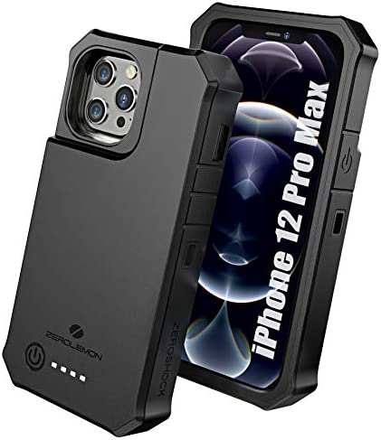 ZEROLEMON iPhone 12 Pro Max Battery Case 10000mAh Wireless Charging Lightning Headphone Supported product image