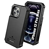 ZEROLEMON iPhone 12 Pro Max Battery Case 10000mAh, Wireless Charging & Lightning Headphone Supported, RuggedJuicer Extended Battery Charger Case for iPhone 12 Pro Max 6.7' 2020 - Black